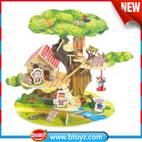 China wholesale market children toy Wooden Toys dog house plastic toy with little tiger