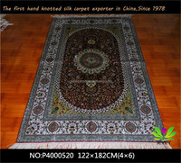 4x6 hand knotted Persian design 100% silk rugs for sale handwoven kayseri turkish carpet