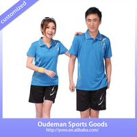 2015 Fantistic 100%polyester badminton sports shirt, couple's badminton team jersey, newest dry fit table