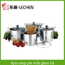 Cheap 8PCS Stock Pot Stainless Steel Cooking Pot Soup Pot Cookware Set With Glass Lid LC-8TG02