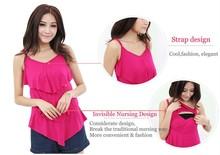 Jersey de color rojo de la tela de rayón bra bra lactancia materna camisa corta top