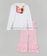 wholesale kids fall outfit mustard pie white top matching white pink rose ruffle pants toddler children fall boutique clothing