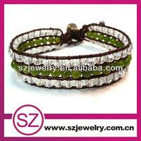 NTB0277 Handmade three wrap leather diy bracelet/ good ideas for gift