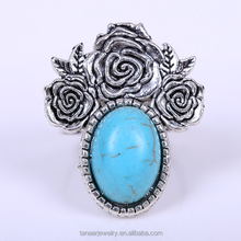 New arrivel handcrafted Turquoise jewelry fashion design adjustble Turquoise blue Copper ring