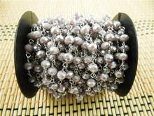 CH-JBN0042 rosary glass bead,4*6mm crystal glass bead rosary chain,fashion beaded chain jewelry