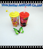 12oz child cartoon 3d PP plastic cup with lid and straw