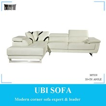 Cream leather chaise lounge/living room furniture MY039 ANGLE