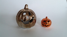 Pumpkin Shape Pottery Fairy Garden House Craft With Electroplate For Halloween