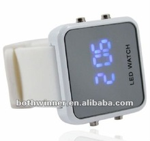 Mirror LED Watch with Digital Display and Rubber Strap