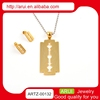 Mens gold necklace knife blade pendant stainless steel jewelry set