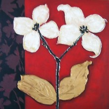 modern hand painted home art decor Artwork oil painting white twins flowers