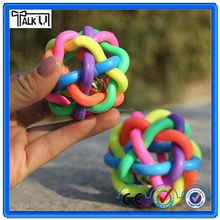 Soft rubber rainbow color dog bite chew ball, Pet training toy interactive dog chew ball