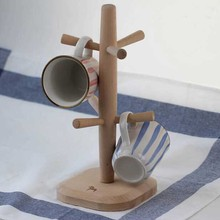 Home Deco Solid Beech Wooden Coffee Mug Holder Kitchen Rack For 6 Cups Display Stand Tree Holder