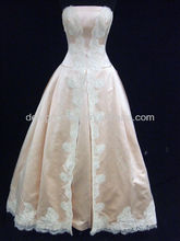 2014 New Model Simple A-Line Lace Strapless Satin Wedding Gown Designs
