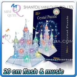 Mini Qute 3D Crystal Puzzle flash musical electronic Castle building Adult kids model educational toy gift NO.MQ 004