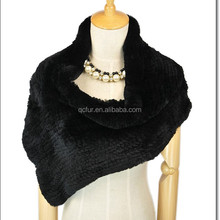 QC2199 natural black rex rabbit fur knitted shawl scarf