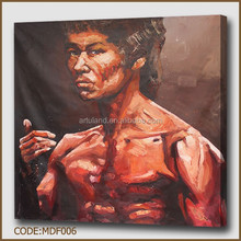 Modern oil painting of Bruce Lee Action Movie star