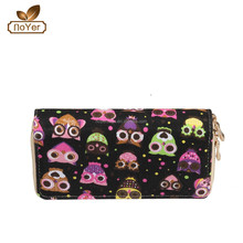 2015 trendy wallets purse in owl canvas printing, ladies canvas wallets