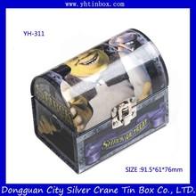 treasure chest tin box with lock /gift tin box