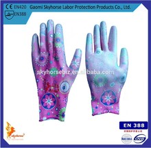 13G Pu Coated Garden Gloves With Elegant Pattern