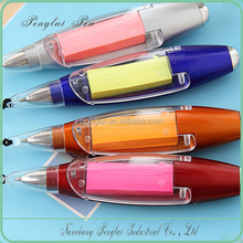 2015 custom design promotion led light with memo neck strap ball pen neck strap pen