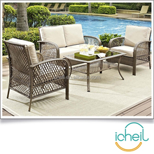 4 Piece Deep Seating Group Outdoor Patio Conversation Set / UV Protection Wicker Rattan Steel Frame Furniture