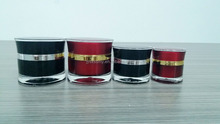 15g/30g/50g empty fancy black and red colored cosmetic acrylic jars plastic