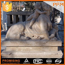 2014 hot sale natural wholesale hand carved garden stone angel statue