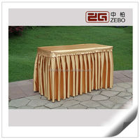 Hot Selling Ruffled Satin Fabric Rectangle Table Cloths for Banquet