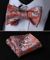 Luxury Designed Jacquard fabric Self Bow Tie and Handerchief Set For Men