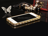 New Luxury Crystal Rhinestone Bumper Frame For iPhone 5 5s 4 4S Diamond Gold Slim Shining Bling Metal Case For iPhone5