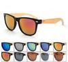 Factory wholesale custom logo fashion wood bamboo leg sunglasses with mirrored lens