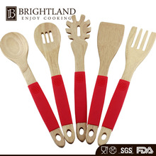 Top Selling Wood Kitchen Hand Tools Cookware Set Silicone Handle Grip Wooden Kitchen Tools