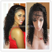 Free shipping brazilian remy natural black human hair deep curl lace front wig with baby hair