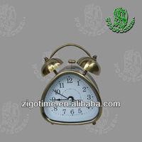 pear style metal bronze quartz twin bell Alarm clock
