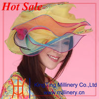 Popular design top selling organza hats and neck designs for ladies suit in China