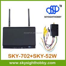 "7"" FPV Monitor 32CH 5.8G Diversity Dual Receiver SKY-702 + 5.8Ghz 2000mw fpv video transmitter SKY-52W long range wireless video"