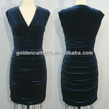 GD3320 charming V neck pleated casual apparel