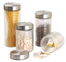 Clear Glass Canister Set 4