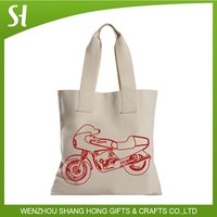 fancy unique motorcycle design canvas tote bag for shcool college students