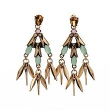 2015 European and American fashion concept metal inlay zircon wheat / Earrings