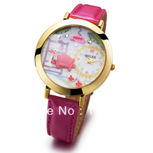 Cool New style.Wholesale Leather Round Dial 3D house Rose Lovely fashion Women dress watch.TOP quality