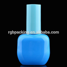 15ml blue sky color empty glass gel polish bottles with plastic colored cap