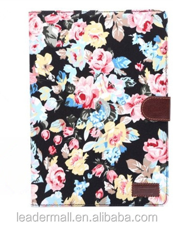 Wholesale Flower printing Leather Case with Card Slots Holder for iPad Air 2