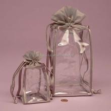 Silver silk binding clear pvc organza bag