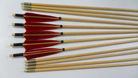 hottest selling red good quality Turkey feather arrow broadheads wooden archery arrow for bow hunting