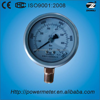 63mm bottom wika type liquid filled bourdon tube 700bar high pressure gauge