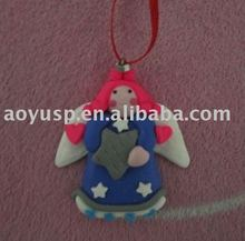 Polymer Clay Dough Logo print handmade craft Angel Decoration Pendant