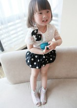 Cute Bow Crochet Polka Dot Elastic Waist Shorts Suits Outfit Clothes 1 TO 7 year old girl dress SV017500
