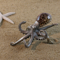 Wholesale hot selling Metal decorative pewter and shell figurine octopus